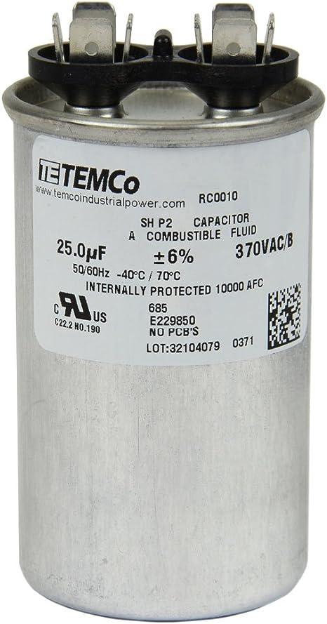 TEMCo 20 MFD uF Run Capacitor 370 vac Volts 10 LOT AC Motor HVAC 20 uf