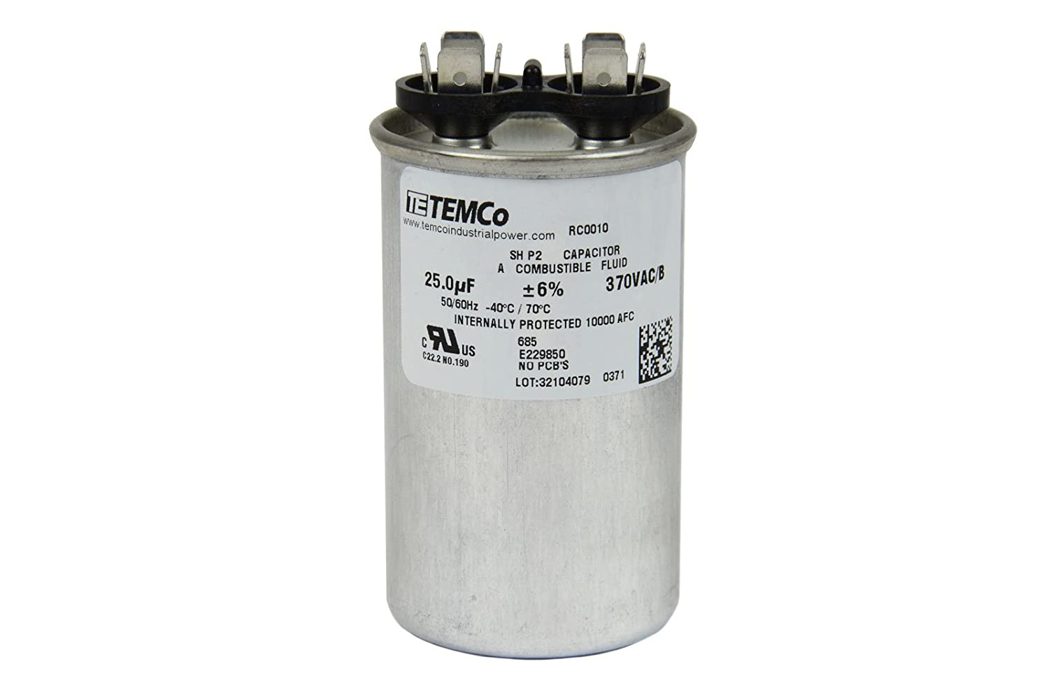 Temco Motor Run Capacitor Rc0010 25 Mfd 370 V Vac Volt Single Phase Wiring Diagrams Transmission Lines Uf Round Hvac Ac Electric Automotive