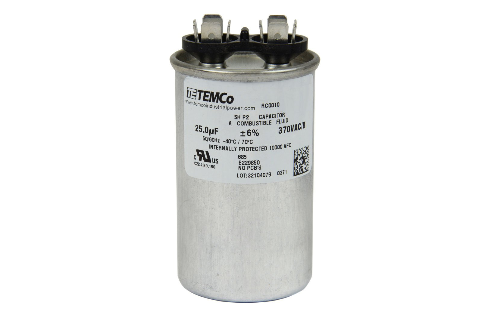 Temco motor run capacitor rc0010 25 mfd 370 v vac volt for Electric motor capacitor replacement