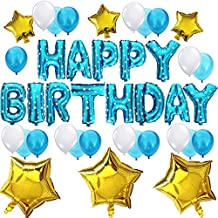 KUNGYO Cute Birthday Party Decorations Set - Blue Happy Birthday Balloon Letters Banner, 6 pcs Gold Mylar Foil Star , 21pcs Latex Balloons, Brilliant Birthday Party Supplies