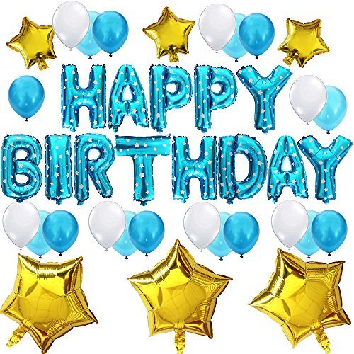 KUNGYO Cute Birthday Party Decorations Set - Blue Happy Birthday Balloon Letters Banner, 6 pcs Gold Mylar Foil Star, 21pcs Latex Balloons, Funny Birthday Party Supplies for Boy and Kids