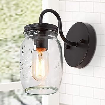 1 wall light clear mason jar glass Nickel sconce vanity bathroom farmhouse SN