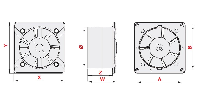 240.00 voltsV plateado 4.40 wattsW Silent Extractor ventilador 100/mm//4/con moderno panel frontal potente de bajo consumo Silencioso ventilador ba/ño cocina para inodoro kws100