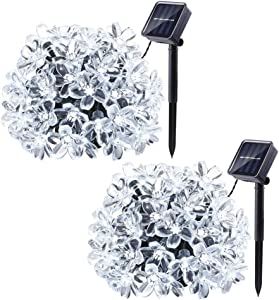 Joomer 2 Pack Outdoor Solar Flower String Lights Waterproof 22ft 50 LED Fairy Light Decorations for Christmas Tree Garden Patio Fence Yard Spring (White)