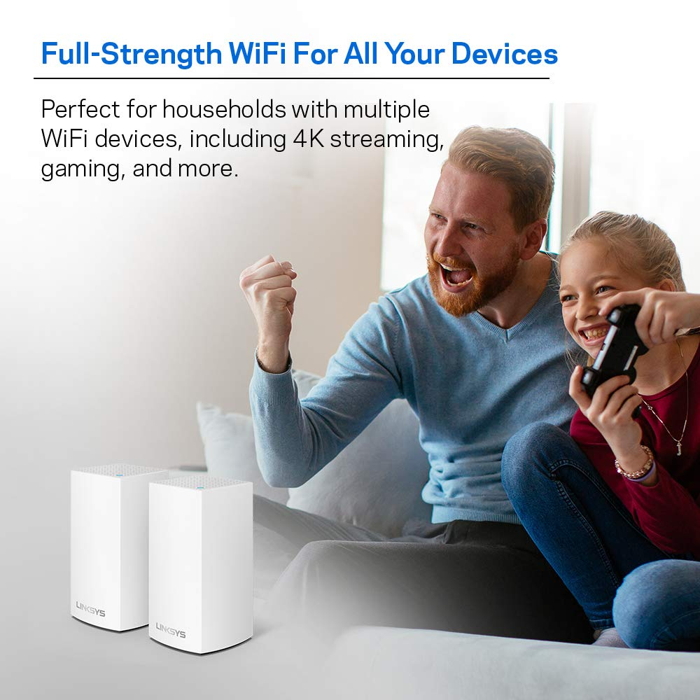 WiFi Router//WiFi Extender for Whole-Home Mesh Network Linksys Velop Home Mesh WiFi System 2-pack, White