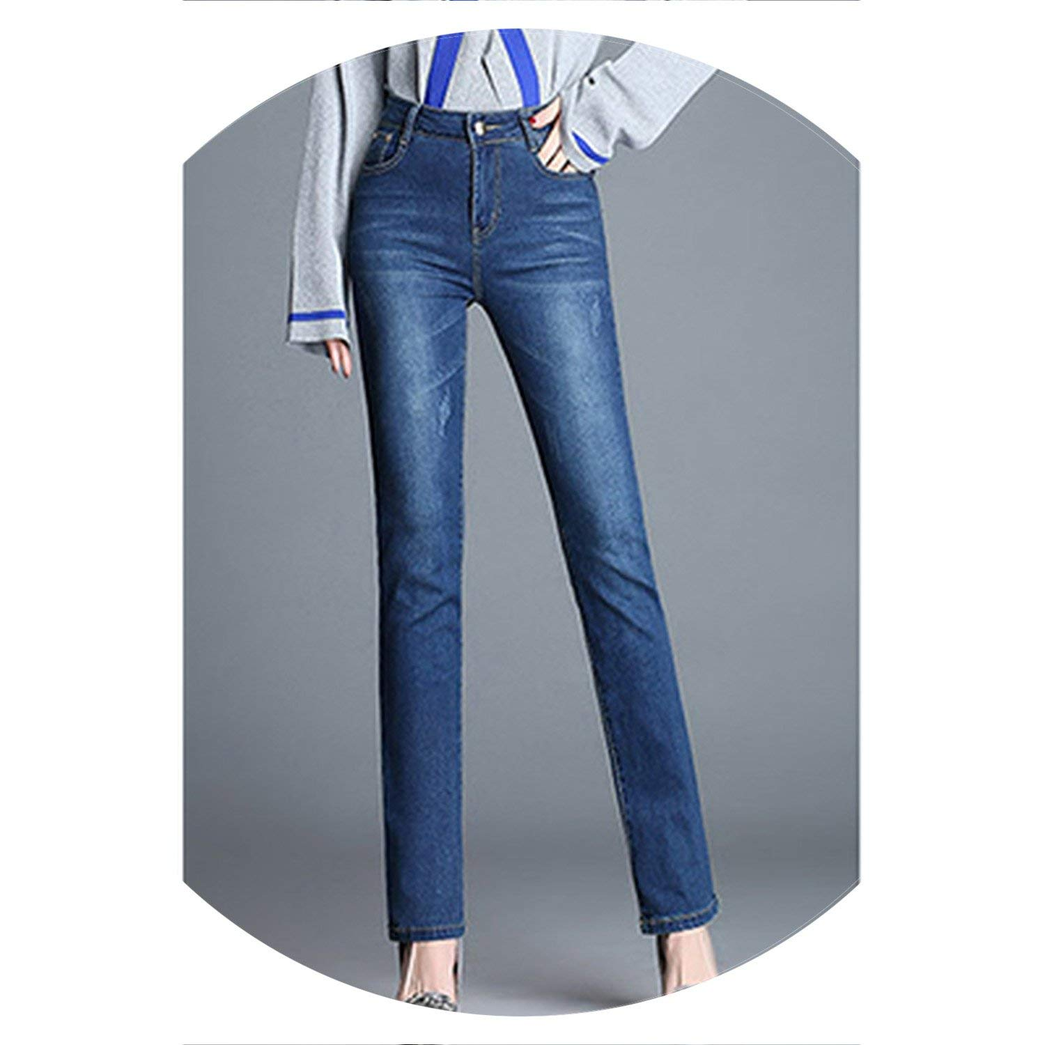 Dark bluee colorfulspace Classic with High Waist Denim Jeans for Women Vintage Slim Mom Style Jeans Woman Denim Pants