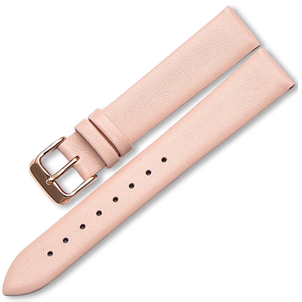 HaloVa Watchバンド、クイックリリースクラシック腕時計ストラップ、シン防水本革手首交換用Watchstrapバンドメンズレディース  Pink, 13mm B07FGDYN5V