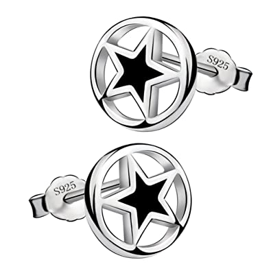 Viyino Fashion 925 Sterling Silver Black Paint Outer round and inner star Shape Studs Earrings xOb406