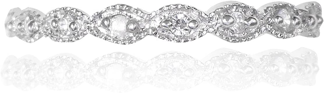 Marquise Filigree Victorian Stackable Eternity Sterling Silver Ring