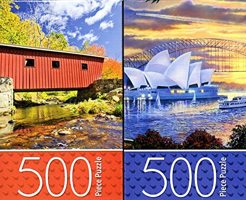 Covered Bridge / Sydney Opera House - 500 Piece Jigsaw Puzzle (Set of 2 Puzzle)