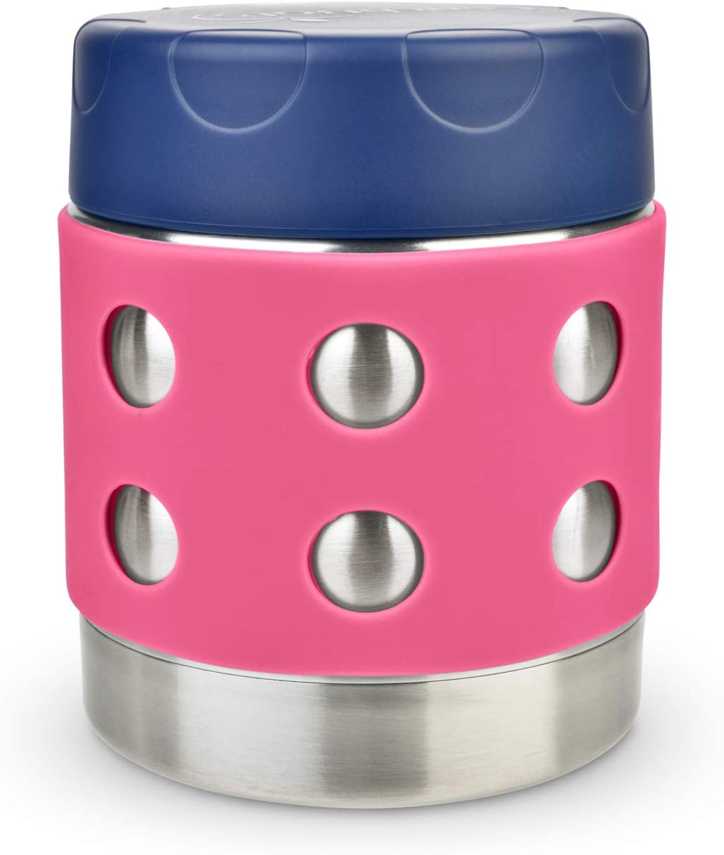 LunchBots Thermal 8 oz Triple Insulated Food Container - Hot 6 Hours or Cold 12 Hours - Leak Proof Thermos Soup Jar - All Stainless Interior - Navy Lid - Pink Dots