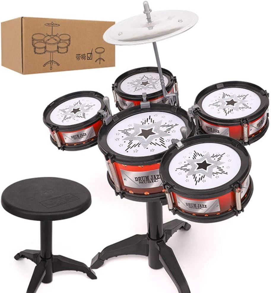 gengyouyuan Juguete Musical Tambor Instrumento de percusión Rompecabezas de educación temprana para bebés de 3 a 6 años. Tambor de Jazz [5 Tambores + Silla - Caja Express]: Amazon.es: Juguetes y juegos