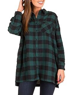 13ad0efad9798 DUNEA Women Plaid Buffalo Check Button Down Shirt Roll-up Long Sleeve Plus  Size Blouse