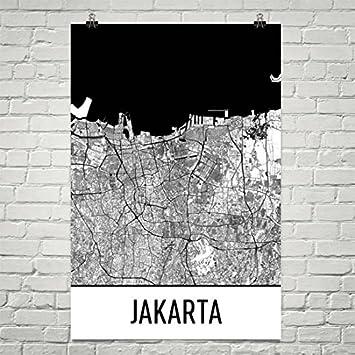 Amazon.com: Jakarta Map, Jakarta Art, Jakarta Print, Jakarta ...