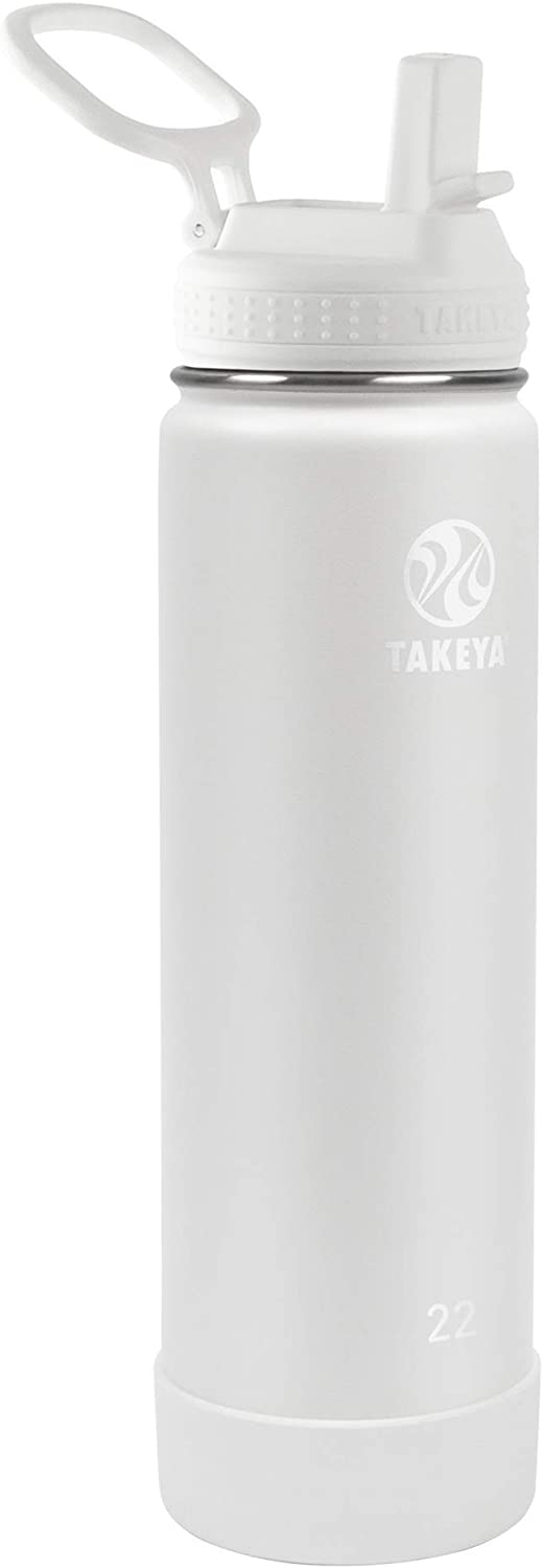 Takeya Actives Insulated Water Bottle w/Straw Lid, Arctic, 22 Ounces