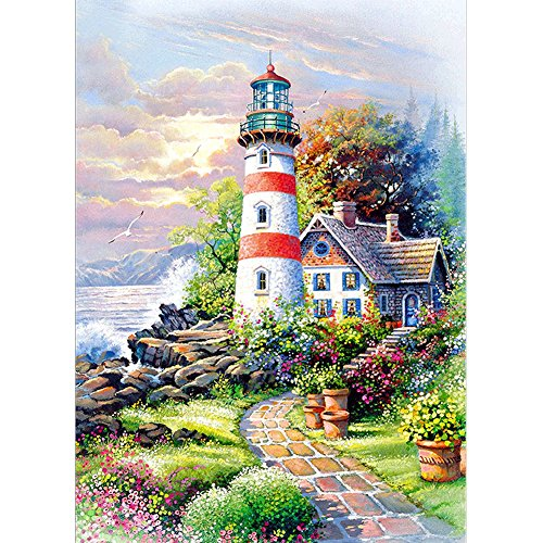 5D DIY Diamond Painting by Number Kits, Crystal Rhinestone Diamond Embroidery Paintings Pictures Arts Craft for Home Wall Decor Lighthouse Hut 11.8 X 15.7 - Gem Hut