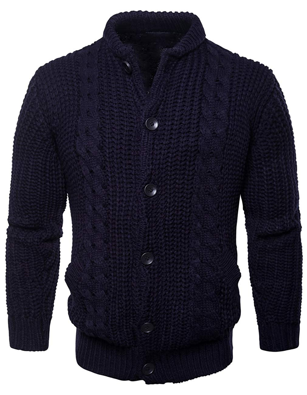 YIMANIE Mens Casual Knitwear Stand Collar Cardigan Long Sleeve Button Down Sweater