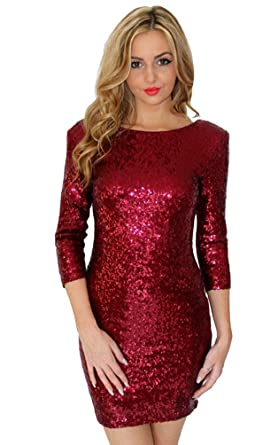JiDe Womens Sparkle Glitter Sequin 3/4 Sleeve Bodycon Mini Club Wear Dress Vegas Red