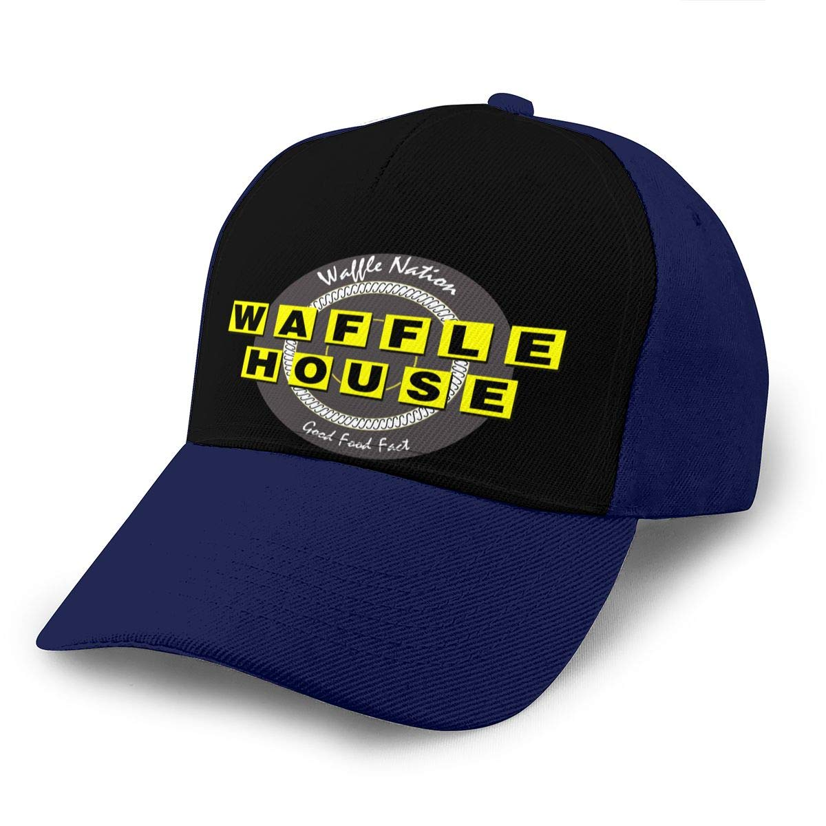 Adjustable Women Men Waffle-House Print Baseball Cap Flat Brim Cap Hats Hip Hop Snapback Sun Hat Boys Girls Navy by Apolonia