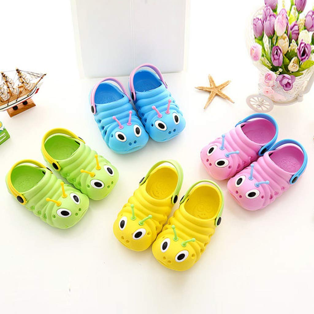 HHmei Childrens caterpillar non-slip baby baby shoes with baotou baotou slippers Blue, 28cm Summer Toddler Baby Boys Girls Cute Cartoon/Beach Sandals Slippers Flip Shoes