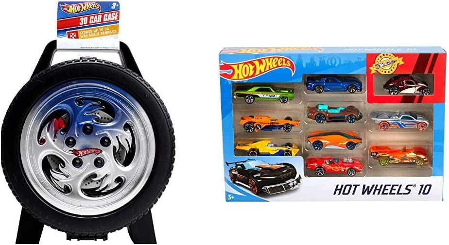 Hot Wheels 30-Car Storage Case with Easy Grip Carrying Handle & 10 Car Pack, Styles May Vary