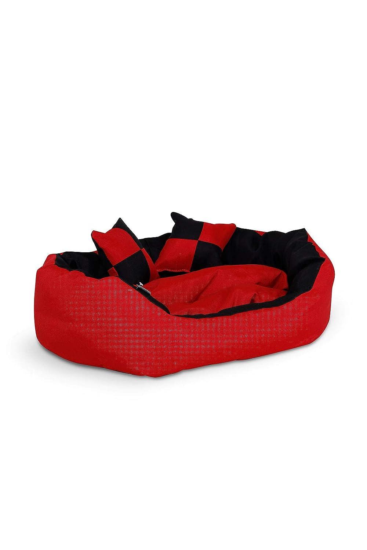 dibea Lit/Coussin/Canapé Lavable avec Coussin Réversible pour Chien Rouge/Noir 65 x 50 x 20 cm DB00410