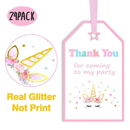 Amazon Com Kreatwow Unicorn Party Favors Thank You Tags For Girls
