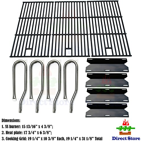 Direct store Parts Kit DG128 Replacement Jenn Air Gas Grill 720-0337 Gas Grill Burners,Heat Plates,Cooking grids(Stainless Steel Burner + Porcelain Steel Heat Plate + Porcelain Cast Iron Cooking Grid) 1 Cast Stainless Burner