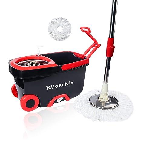 kilokelvin Fregona Giratoria 360, Cubo con Ruedas y Fregona de Microfibra Set de Limpieza,