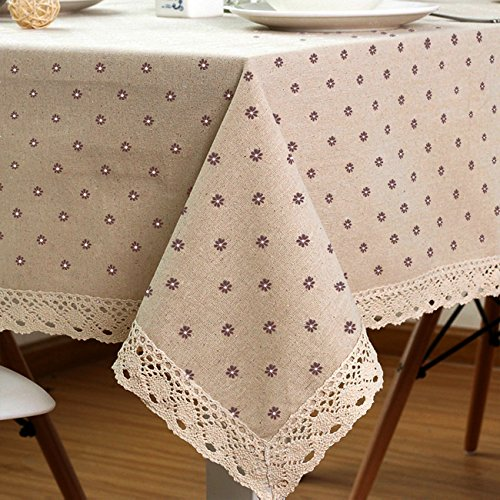 LINENLUX Cotton And Hemp, Machine Washable, Dinner, Summer & Picnic Tablecloth, Available In Various Sizes(Coffee,55.1x70.9In) (Breakfast Cloth Table)