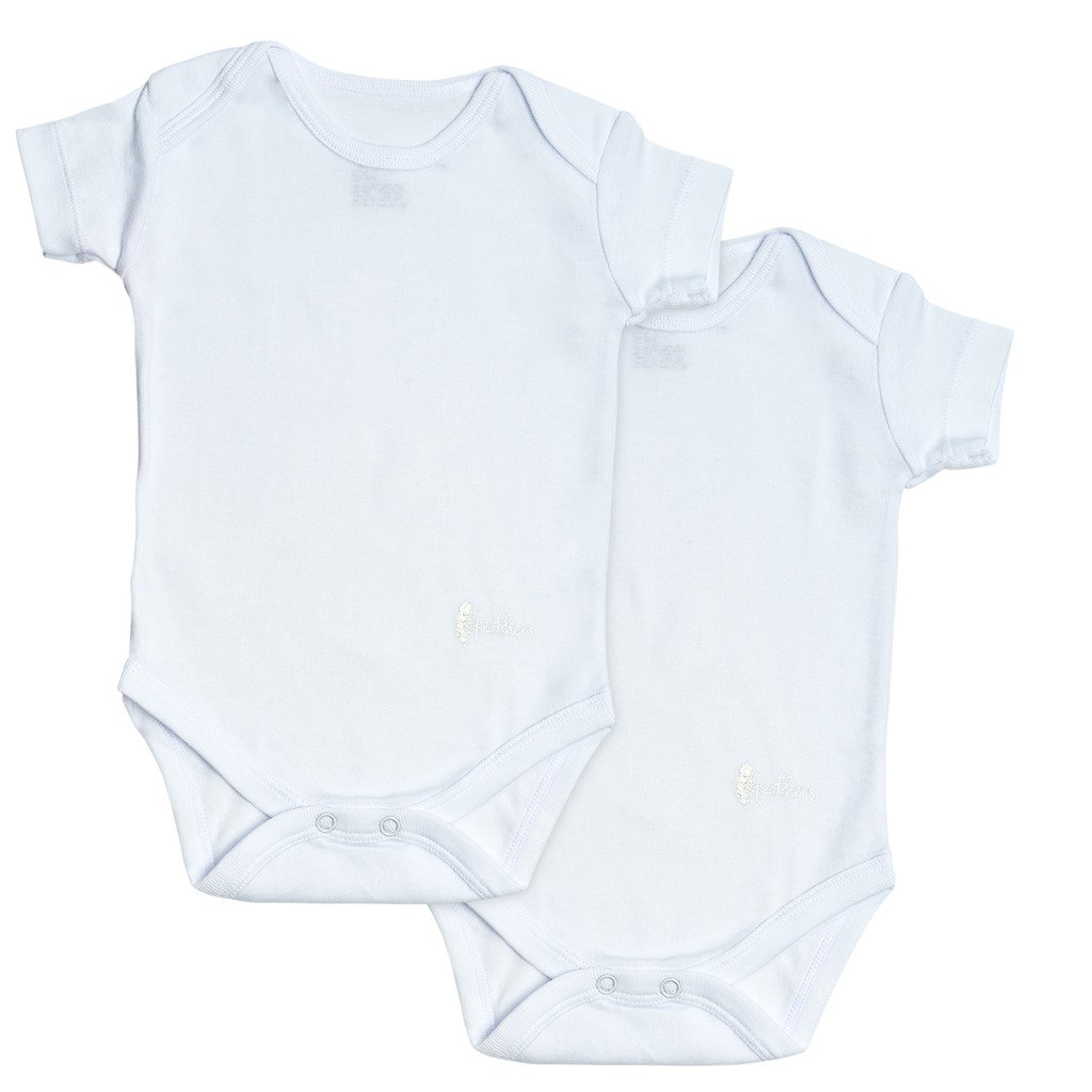 Feathers Baby Boys Solid White 100% cotton super soft Onesies Undershirts 2-Pack