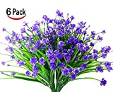 Lobeve Artificial Flowers of 6 Bundles, Fake  Plastic Plants, Faux Daffodils for Window Box Home Patio Yard Indoor Garden Light Office Wedding Decor-Purple