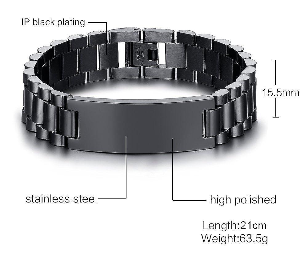 VNOX Personlized Jewelry-15.5MM Black Stainless Steel ID Tag Wide Link Bracelet Wristband for Men Boy,8.3