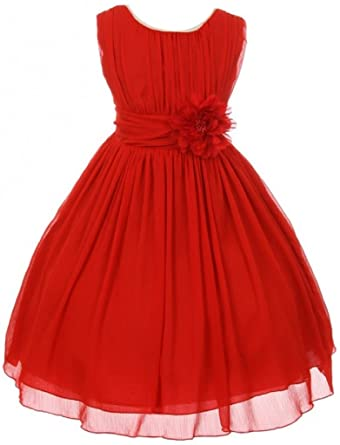 5aba4c512163 Image Unavailable. Image not available for. Color: Little Girls Elegant  Yoryu Wrinkled Chiffon Summer Flowers Girls Dresses Red 4 G35G34
