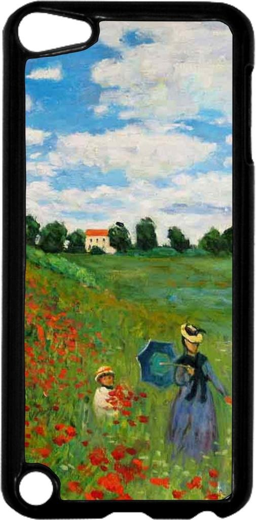 Claude Monet-The Poppy Field Near Argenteuil- Case for the Apple Ipod 5th Generation-Hard Black Plastic