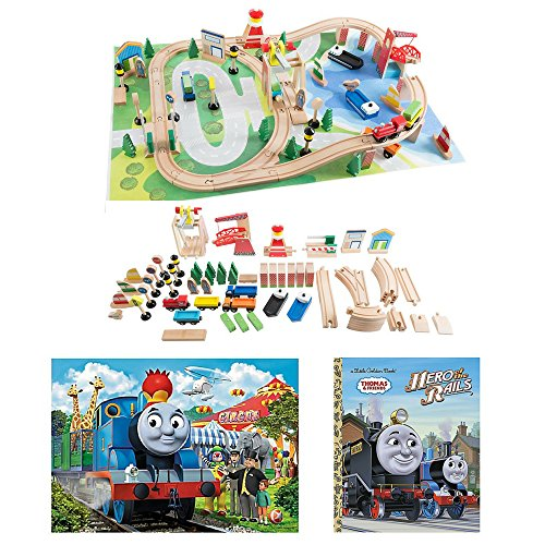Engines Thomas Floor Puzzle - Hey Play! Wooden Train Set with Play Mat, Thomas and Friends 24-Piece Circus Floor Puzzle, Thomas and Friends