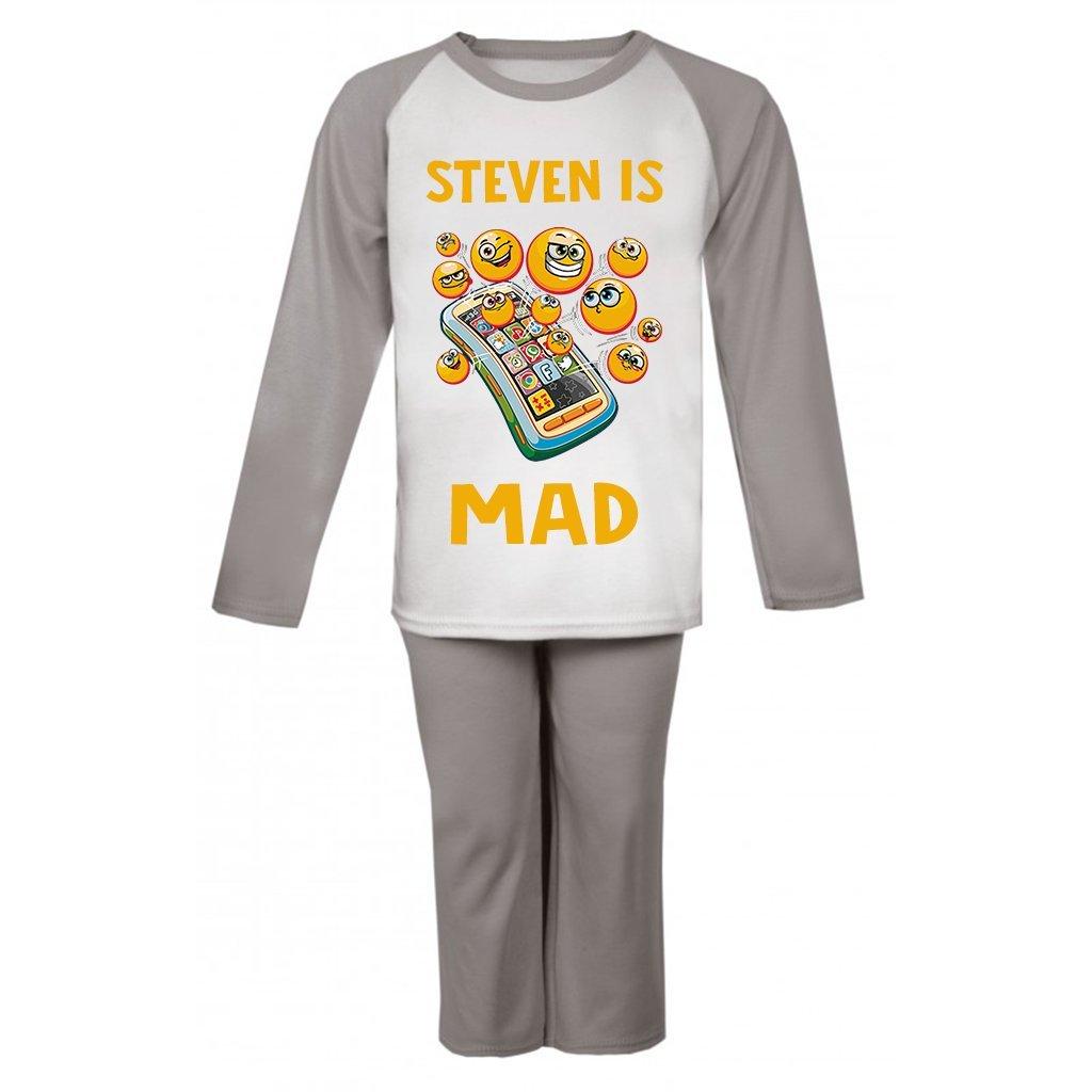 Personalised Name is Emoji Mad Pyjamas Personalised Pjs Girls Personalised Birthday Pyjamas Cartoon Gifts