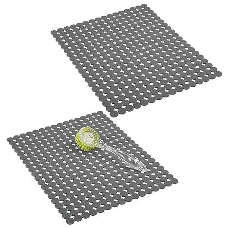 mDesign Juego de 2 alfombrillas para fregadero protectoras – Escurridor de vajilla decorativo extragrande con diseño