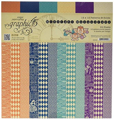 Graphic 45 4501550 Midnight Masquerade 12x12 Patterns & Solids Pad 12