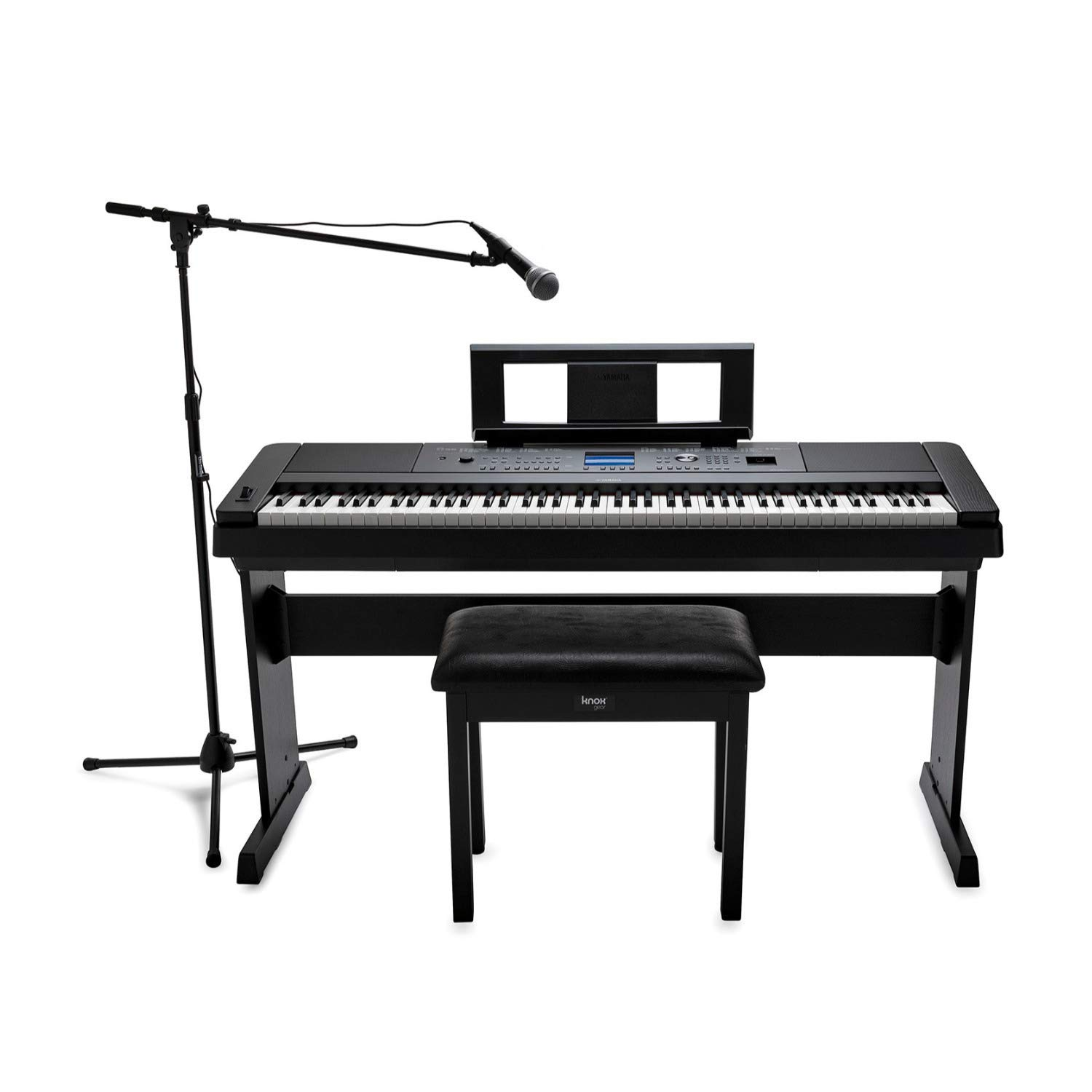 Yamaha DGX-660 88-Key Digital Grand Piano with ATR1200 Microphone, Mic Stand, Knox Flip Top Bench and Focus Piano Book Bundle by YAMAHA