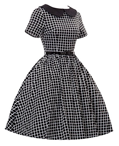 Daroj Cru À Carreaux Col De Poupée De Style De 1950 Robe De Swing Party Rockabilly Noir