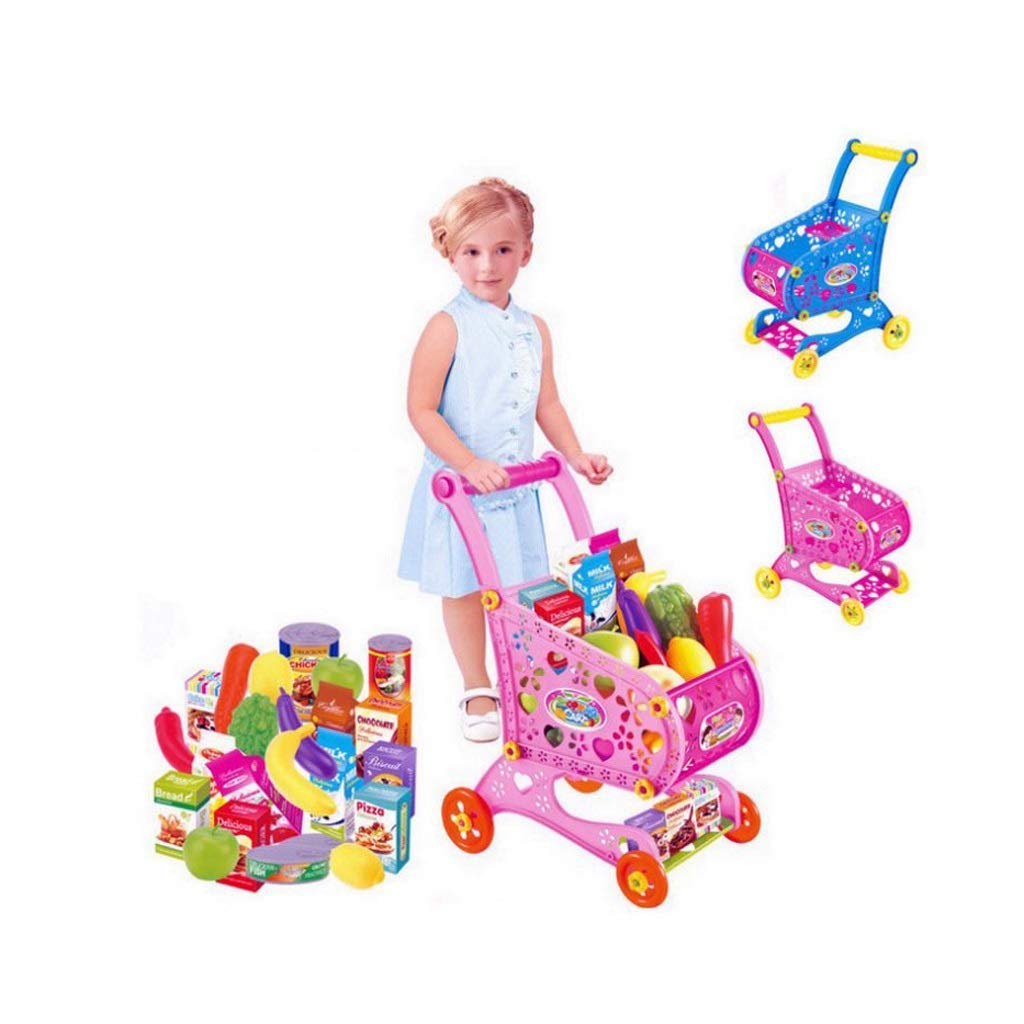 BJLWTQ Children Shopping Cart Toy Kids Supermarket Trolley Play Set with Toy Food Fruit Vegetables (Color : Blue)