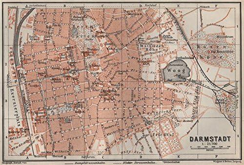 Amazon Com Darmstadt Antique Town City Stadtplan Hessen Karte