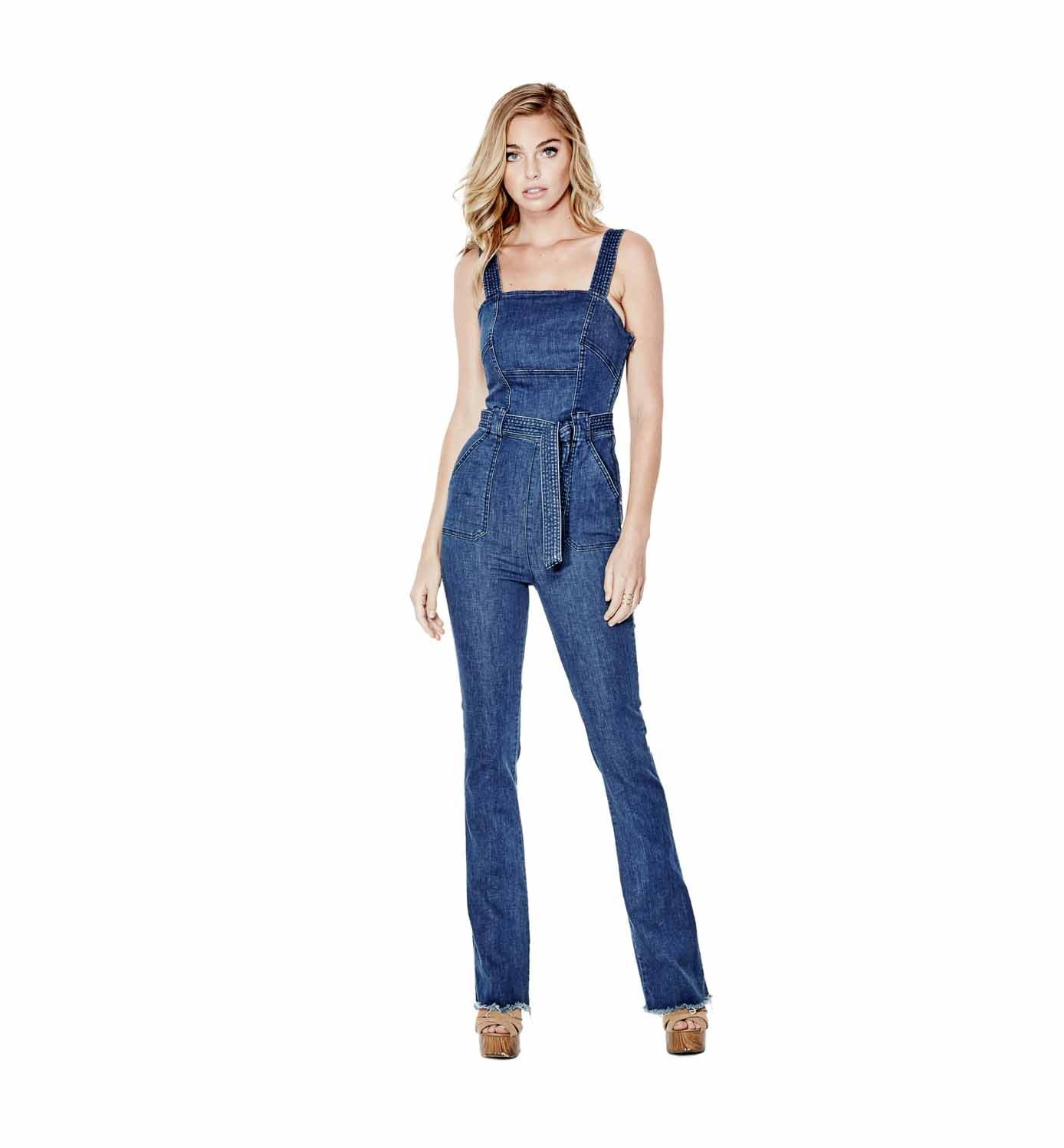 GUESS Women's Ella Flare Denim Jumpsuit (4, Blue)