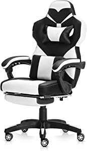 Racing Style PU Leather Gaming Chair - Ergonomic Swivel Computer, Office or Gaming Chair Desk Chair HOT (WH0)
