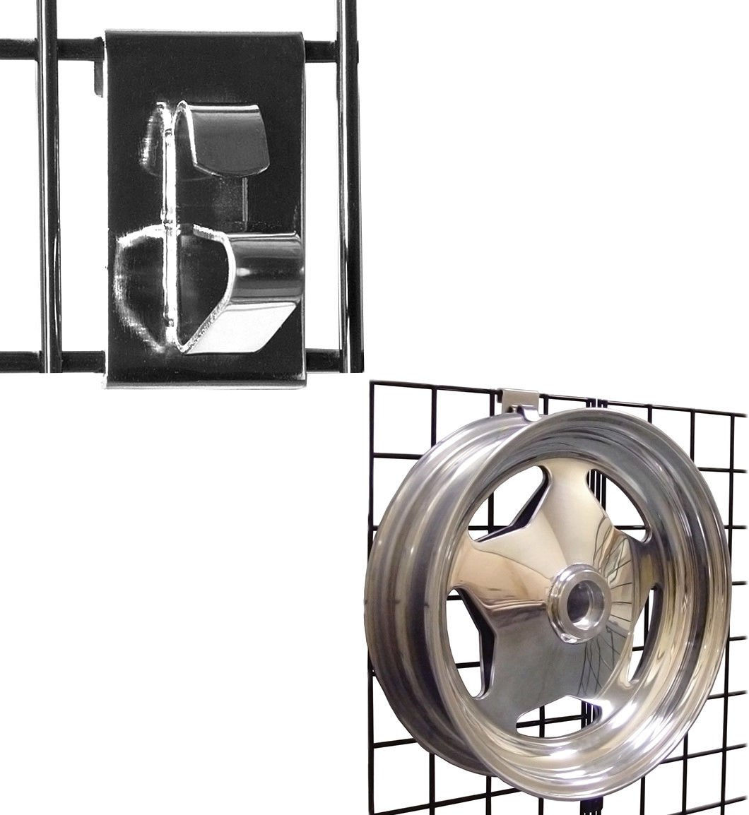 Gridwall Wheel Holder/Grid Wheel & Rim Display Hook for Gridwall Panels - Chrome - 10 Pack