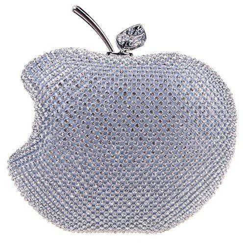 Fawziya Apple Shape Purse Brand Bags For Girls Handmade Clutches-Silver