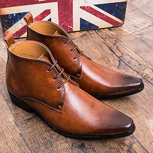 Clásicos Martin Cabelludo De Zapatos Hombre Tendencia Chelsea En Cuero Botas Altos Brown Punta Botines Para wTwvg1Oq
