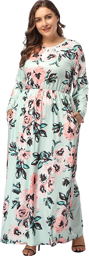 TALLA (EU54-56)3XL. Lover-Beauty Vestido Largo Mujer Talla Grande Moda Bolsillo Top Falda para Fiesta Verano Manga Corta Floral Estampada Suleto Moda de Ropa Elegante Maxi Verde (EU54-56)3XL