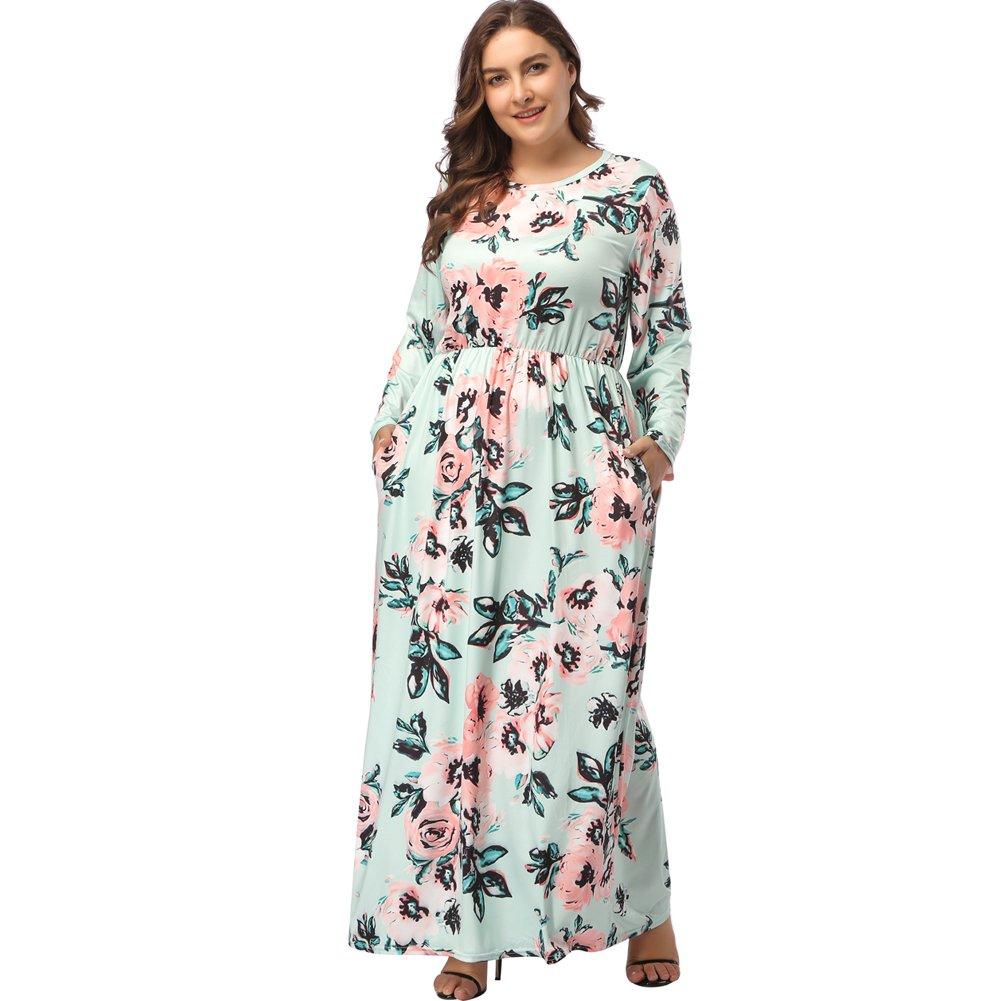 TALLA (EU62-64)5XL. Lover-Beauty Vestido Largo Mujer Talla Grande Moda Bolsillo Top Falda para Fiesta Verano Manga Larga Floral Estampada Suleto Moda de Ropa Elegante Maxi Verde (EU62-64)5XL